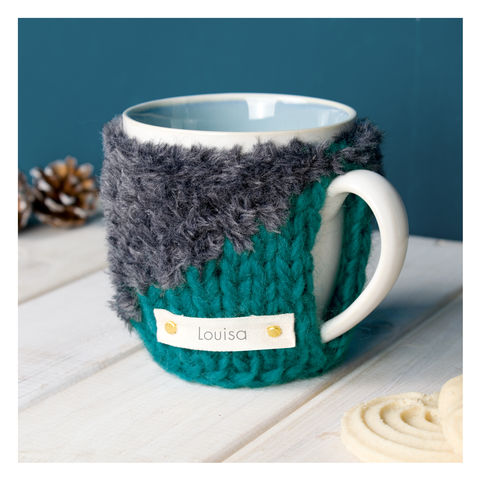 Personalised,Contrast,Knit,Mug,Cosy,-,Charcoal,Grey,and,Teal,Green,Personalised Mug Cosy, Knitted, Made in Britain, Mug and Cosy - Personalised Knitted Mug Cosy and Mug - Eco Friendly Mug Cozy - Wool Mug Cosy - Rustic - Tea Accessory - Tea Lover - Tea Gift
