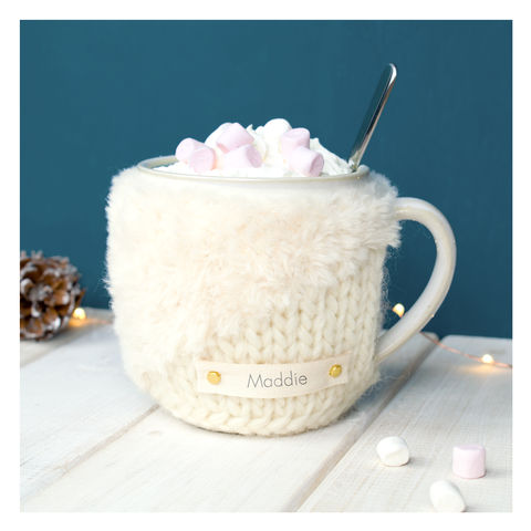 Personalised,Contrast,Knit,Mug,Cosy,-,Cream,Personalised Mug Cosy, Knitted, Made in Britain, Mug and Cosy - Personalised Knitted Mug Cosy and Mug - Eco Friendly Mug Cozy - Wool Mug Cosy - Rustic - Tea Accessory - Tea Lover - Tea Gift