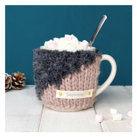 Personalised,Contrast,Knit,Mug,Cosy,-,Blush,and,Grey,Personalised Mug Cosy, Knitted, Made in Britain, Mug and Cosy - Personalised Knitted Mug Cosy and Mug - Eco Friendly Mug Cozy - Wool Mug Cosy - Rustic - Tea Accessory - Tea Lover - Tea Gift