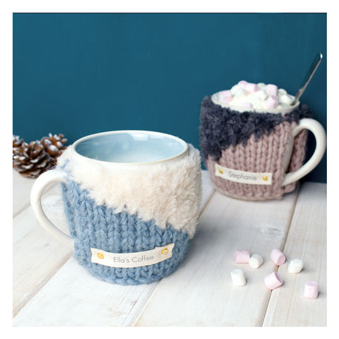 Personalised,Contrast,Knit,Mug,Cosy,-,Blue,and,Cream,Personalised Mug Cosy, Knitted, Made in Britain, Mug and Cosy - Personalised Knitted Mug Cosy and Mug - Eco Friendly Mug Cozy - Wool Mug Cosy - Rustic - Tea Accessory - Tea Lover - Tea Gift