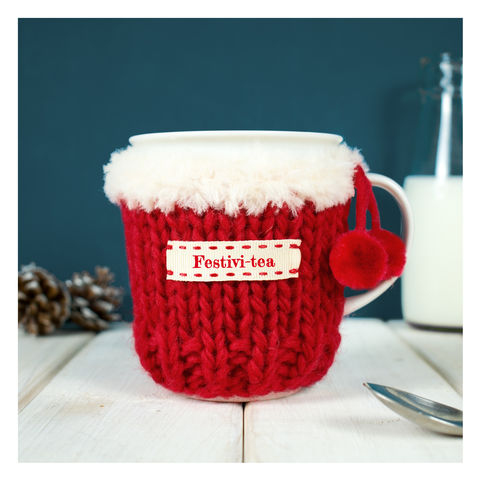 Personalised,Christmas,Pom,Mug,Cosy,Personalised Mug Cosy, Knitted, Made in Britain, Mug and Cosy - Personalised Knitted Mug Cosy and Mug - Eco Friendly Mug Cozy - Wool Mug Cosy - Rustic - Tea Accessory - Tea Lover - Tea Gift-Pom Pom Mug - Pom Pom Tea Cosy