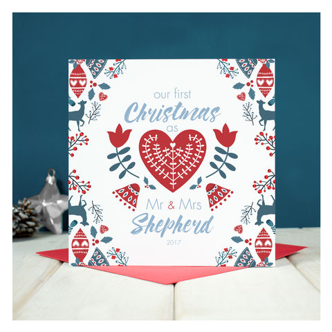 Personalised,First,Christmas,As,Mr,And,Mrs,Card,Personalised First Christmas As Mr And Mrs Card- Keepsake card - Christmas Card - First Christmas Card - Christmas - Greetings Card