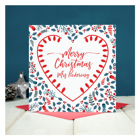 Personalised,Teacher,Christmas,Card,Personalised Teacher Christmas Card - Keepsake card - Christmas Card - Teacher Christmas Card - Christmas - Greetings Card - Teacher