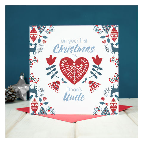 Personalised,First,Christmas,As,An,Uncle,Personalised First Christmas As An Uncle - Keepsake card - Christmas Card - Uncle Christmas Card - Christmas - Greetings Card - New Uncle