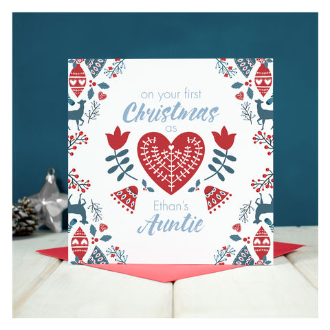 Personalised,First,Christmas,As,An,Auntie,Personalised First Christmas As An Auntie - Keepsake card - Christmas Card - Auntie Christmas Card - Christmas - Greetings Card - New Auntie