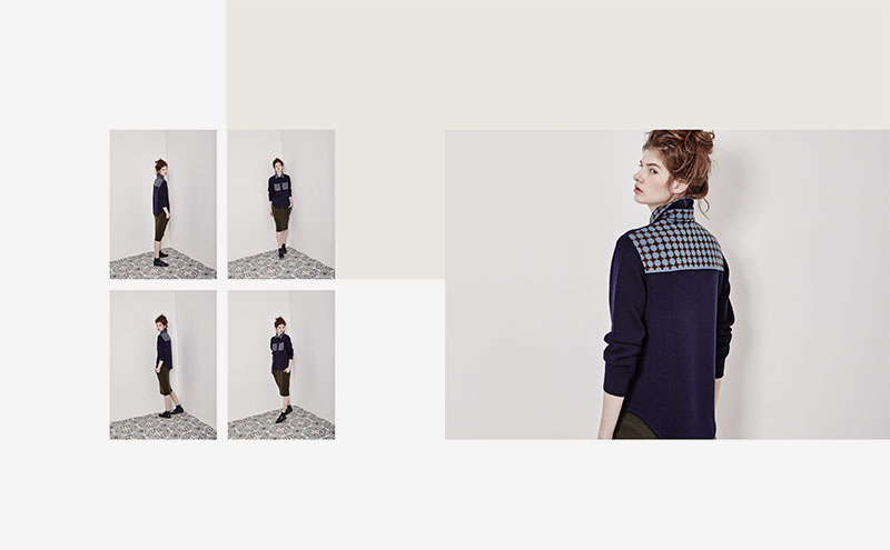 Shirt-like knit cardigan w/ Tile jacquard details