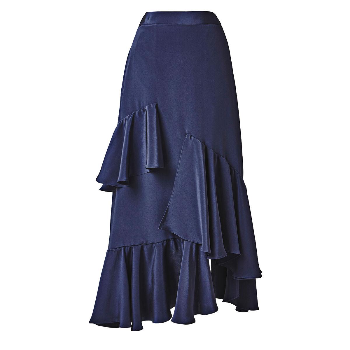 Mouth harmonious silk ruffle skirt want lick