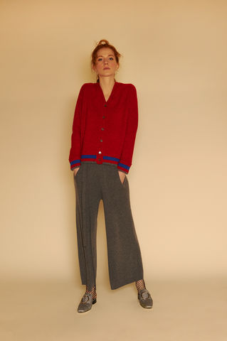 Cashmere,cardigan,with,Stripe,-,Melange,Mandarin,Red, cardigan, Striped cardigan, cashmere cardigan, Melange, Mandarin Red, London knitwear, knitwear designer, luxury casual brand, red cardigan, 100% Cashmere, jwon, jwon london