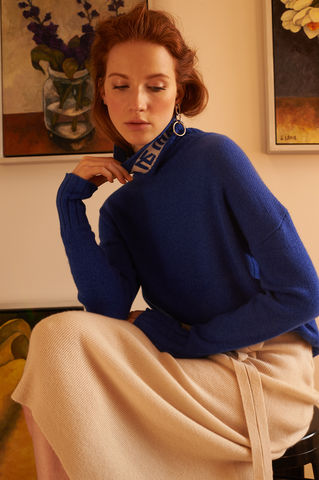 'Le,Week-end',Cashmere,Rollneck,Jumper,Le weekend, Cashmere jumper, Blue cashmere jumper, blue jumper, weekend jumper, 100% cashmere, London knitwear, knitwear designer, luxury casual brand, jwon, jwon london
