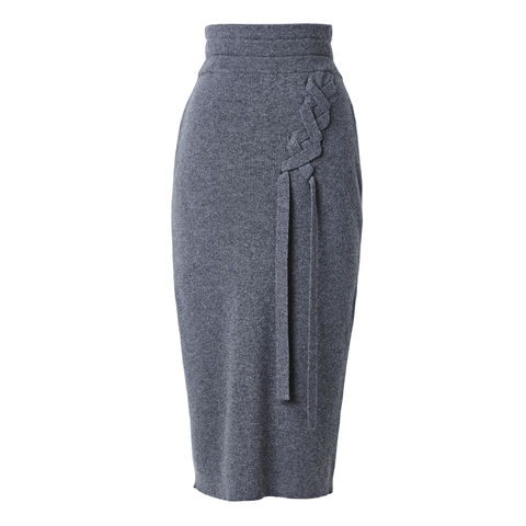Ribbed,Loose,Cashmere,Skirt,with,Straps,Ribbed cashmere skirt, cashmere skirt, skirt with straps, grey cashmere skirt, jwon, jwon london, London knitwear, knitwear designer, luxury casual brand,
