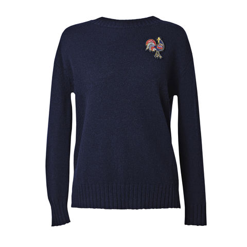 'Rooster',Embroidery,Boatneck,Top,Rooster top, Navy top, embroidery top, cashmere top, London knitwear, knitwear designer, luxury casual brand, jwon, jwon london