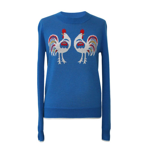 'Rooster',jacquard,Jumper,-,French,Blue,Wool, Jacquard, Jumper, Blue, 100% Merino wool, blue Jumper, Wool jumper, London knitwear, knitwear designer, luxury casual brand, jwon, jwon london