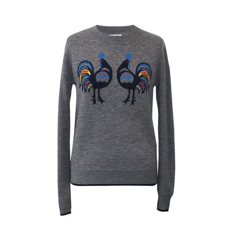 'Rooster',jacquard,Jumper,-,Medium,Melange,Grey,Wool, Jacquard, Jumper, Grey, 100% Merino wool, Grey Jumper, Wool jumper, London knitwear, knitwear designer, luxury casual brand, jwon, jwon london