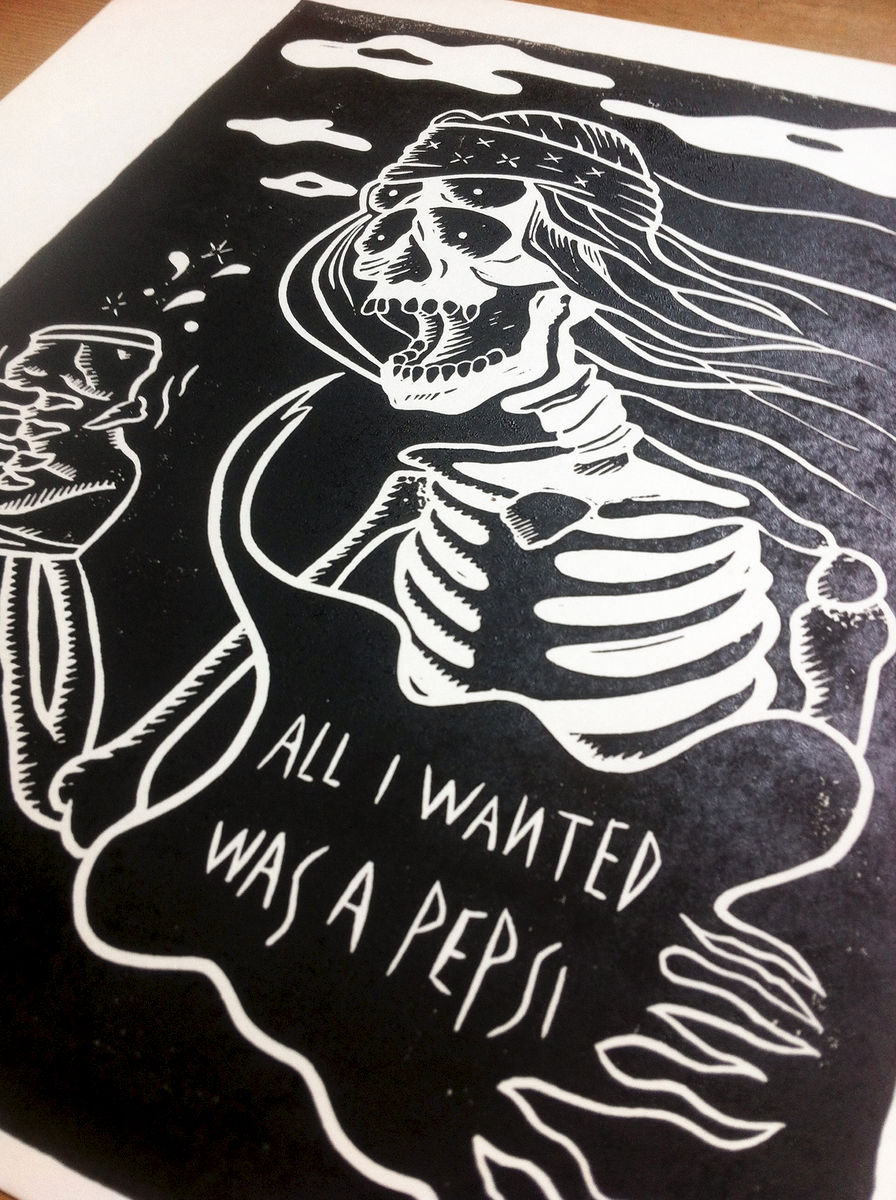 JUST ONE PEPSI - Original relief. Hand Printed - product images  of