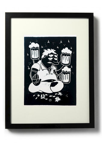 SUPREME,GOD,-,Original,relief.,Hand,Printed,Linocut, Rocco Malatesta, Illustrator, Poster, Movie Poster, fine art print, archival ink, archival paper.