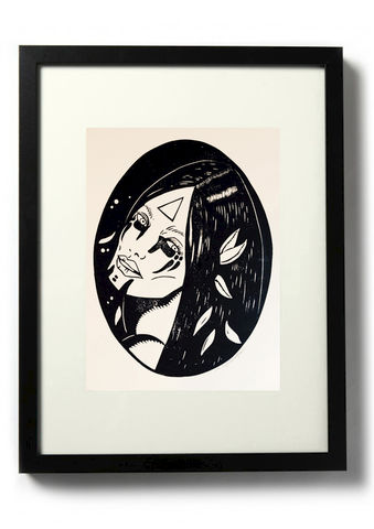SVANA,-,Original,relief.,Hand,finished,,hand,printed,Linocut, Rocco Malatesta, Illustrator, Poster, Movie Poster, fine art print, archival ink, archival paper.