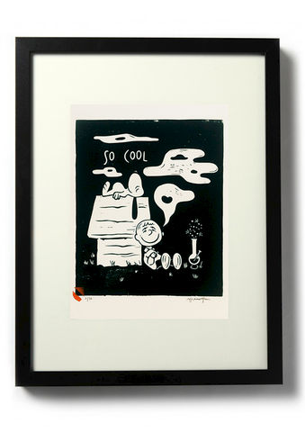 SO,COOL,-,Original,relief.,Hand,Printed,Linocut, Rocco Malatesta, Illustrator, Poster, Movie Poster, fine art print, archival ink, archival paper.