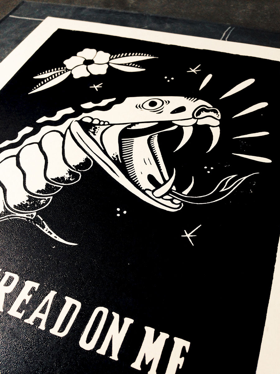 DONT TREAD ON ME - Original relief. Hand printed. - product images  of