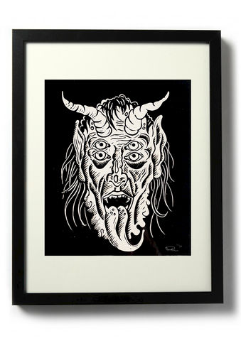 KRAMPUS,-,Original,relief.,Hand,finished,,hand,printed,Linocut, Rocco Malatesta, Illustrator, Poster, Movie Poster, fine art print, archival ink, archival paper.