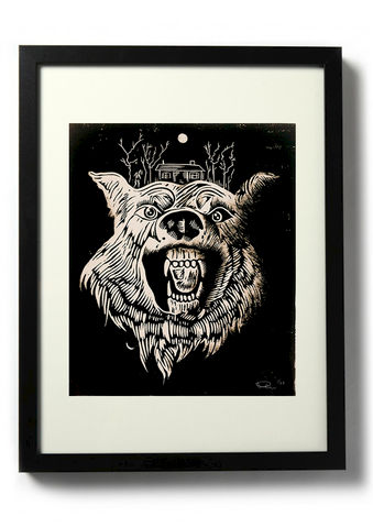 THE,CABIN,IN,WOODS,-,Joss,Whedon,–,September,5,,2014,(GALLERY1988,WEST),Linocut, Rocco Malatesta, Illustrator, Poster, Movie Poster, fine art print, archival ink, archival paper.