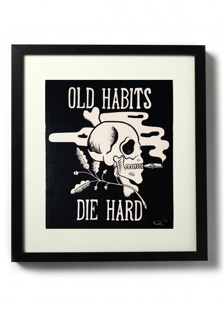 OLD HABITS, DIE HARD - Original relief. Hand finished, hand printed - product images  of