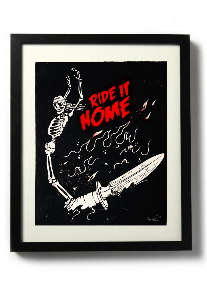 RIDE IT HOME (variant red) - Original relief. Hand finished, hand printed - product images  of