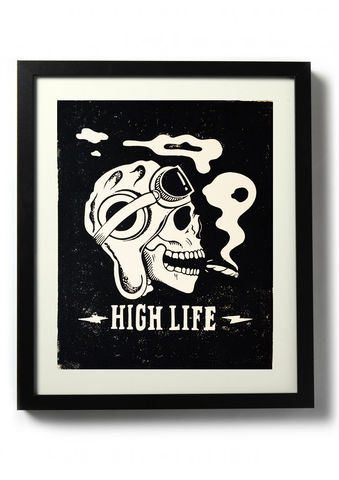 High,Life,(Death,from,Above),-,Original,relief.,Hand,printed.,Linocut, Rocco Malatesta, Illustrator, Poster, Movie Poster, fine art print, archival ink, archival paper.