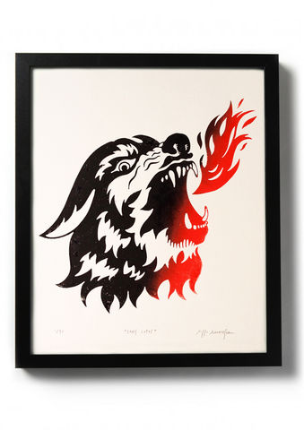 CANIS,LUPIS,-,Original,relief.,Hand,printed.,Linocut, Rocco Malatesta, Illustrator, Poster, Movie Poster, fine art print, archival ink, archival paper.