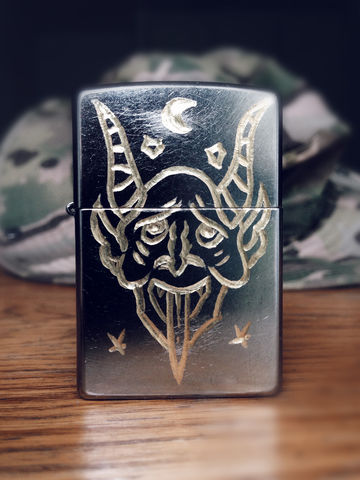 JUNGLE,Lucifer,-,Custom,Hand,Engraved,Lighter,Rocco Malatesta, art, handmade, illustration, design, gadget, tattoo, traditional, ink