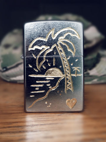 JUNGLE,Palm,Tree,-,Custom,Hand,Engraved,Lighter,Rocco Malatesta, art, handmade, illustration, design, gadget, tattoo, traditional, ink