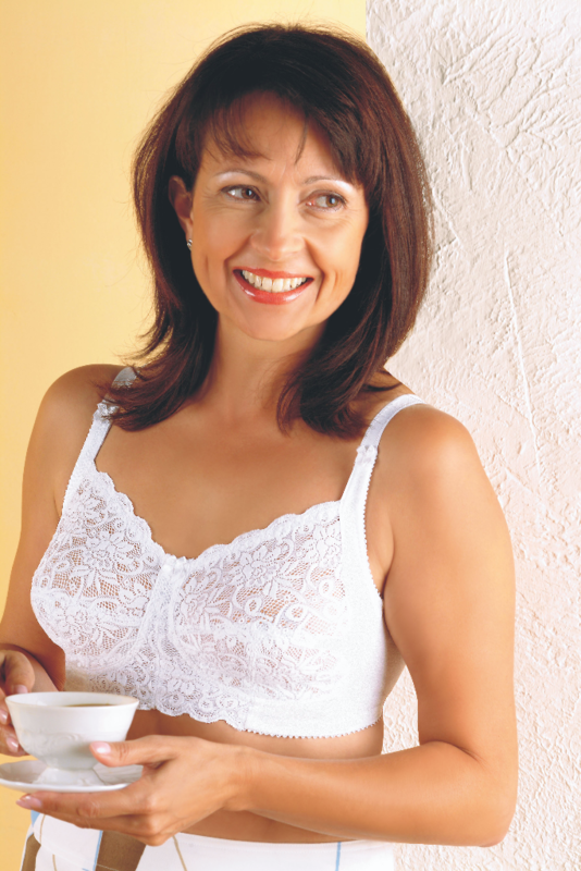 Orchid Mastectomy Bra - White Left Pocket - product images  of