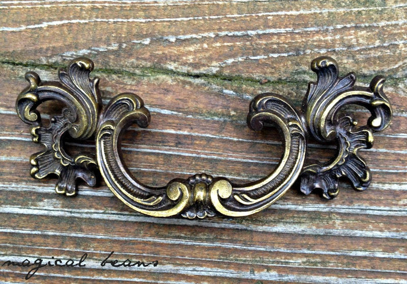 Vintage Kbc Waterfall French Provincial Pull In Dark Brass