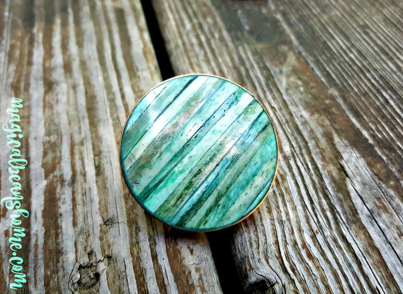 Coastal Cottage Teal Blue-Green Knobs w/Shell Inlay & Gold Mounting ...