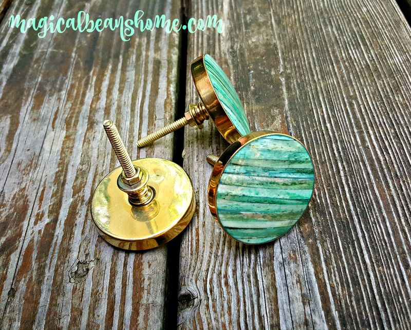 Coastal Cottage Teal Blue Green Knobs W Shell Inlay Amp Gold