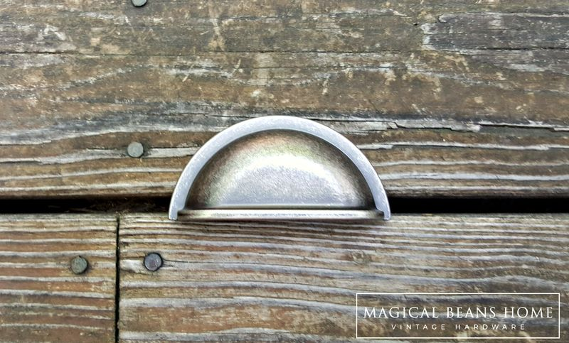 Country Farmhouse Distressed Bin Pulls in Weathered Nickel  - product image