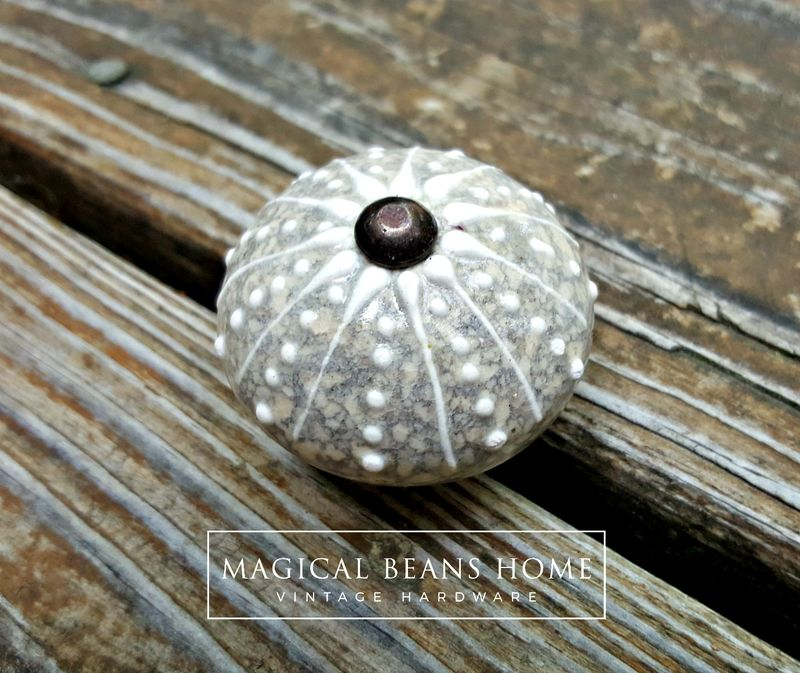 Coastal Style Round Ceramic Knob In Sand W Grey Amp White