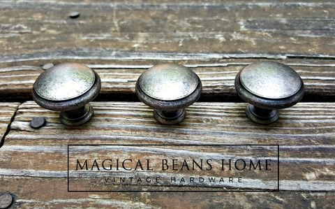 Weathered,Nickel,Rustic,Farmhouse,Drawer,Knobs,in,Distressed,Silver,&,Black,decorative drawer knobs ,Silver dresser knobs, weathered nickel knobs, cabinet knobs, distressed silver knobs, rustic drawer knobs, country farmhouse style hardware, furniture hardware, round drawer knobs,