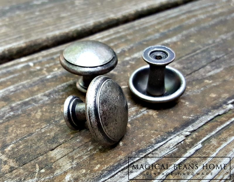 Weathered Nickel Rustic Farmhouse Drawer Knobs in Distressed Silver & Black - product image