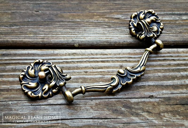 Antique Keeler Brass Co Victorian Solid Brass Drop Bail