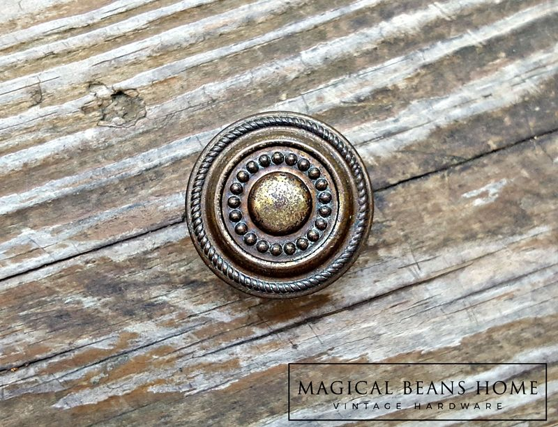 Vintage Rustic Farmhouse Antiqued Brass Furniture Knob