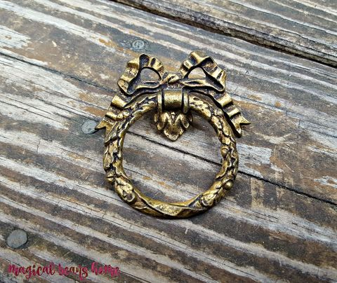 Vintage,Keeler,Brass,Co,,Large,Ribbon,&,Bow,,Wreath,Ring,Pull,in,Dark,vintage drawer pulls, dark brass dresser pulls, wreath ring pull, ribbon bow ring pulls, decorative hardware, period hardware, keeler brass co pulls