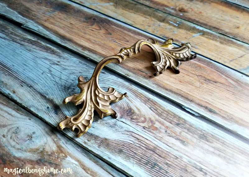 Vintage French Provincial Brass w/Cream Overlay Drawer Pull Handles ...