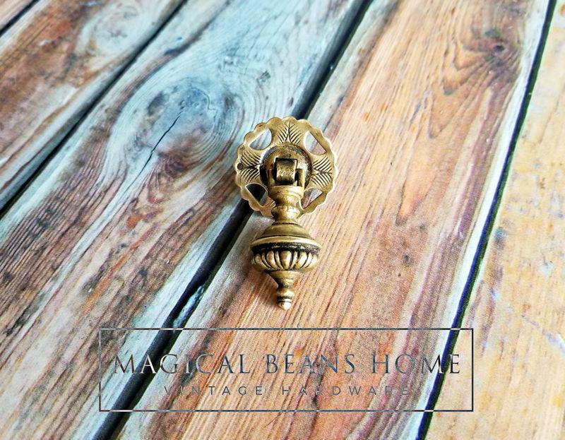 4 Vintage Brass Drawer Pulls Patina Original Hardware Keeler Brass