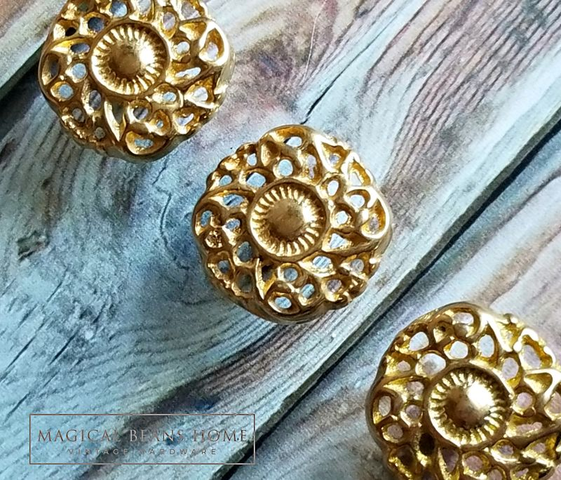 Vintage Gold Rococo Dresser Knobs in Solid Brass - Magical Beans Home