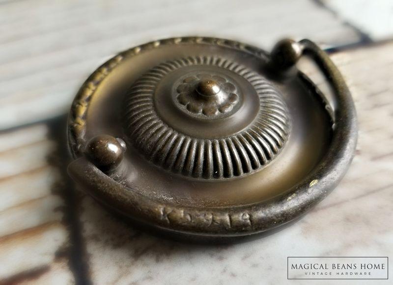Vintage Round Hepplewhite Antiqued Brass Drop Bail Pulls