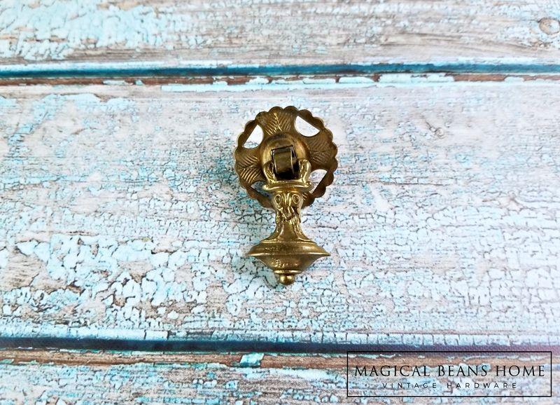 Vintage KBC Petite Bell Shape Gold Teardrop Pull w/Rosette in Solid ...