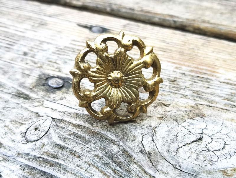 Vintage Mid Century Modern Light Gold Ornate Floral Drawer Cabinet Handle Pull