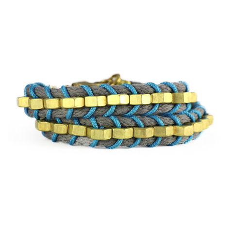 Mutrah,Double,Slang,Bracelet,//,Dark,Grey,,Turquoise, Double Slang Bracelet, Statement Bracelet, Wrap-around, Jewellery