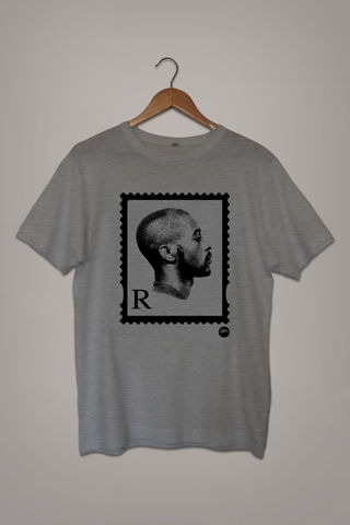 The,'R',MONO,Stamp,Tee,(Grey),Rakim, tshirt, white, Stamp, tee, goldenera, hip-hop, rap, mc, lyricist, paid in full, 25th, anniversary, Eric B