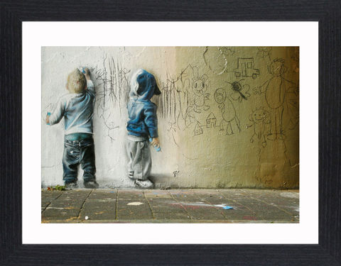 Banksy,-,Graffiti,Kids,Picture, Photo, Photograph, Print, Framed Photograph, Banksy,  Icon, Black&White, B&W, Black & White, Iconic, Street Art, Graffiti, stenciling, Stencil